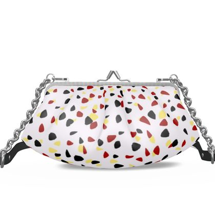 I do not care - Pleated Frame Bag - abstract, bright strokes, colored dots, spots, expressive gift