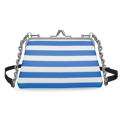 Vacation by the sea - Flat Frame Bag - white and blue striped, marine gift