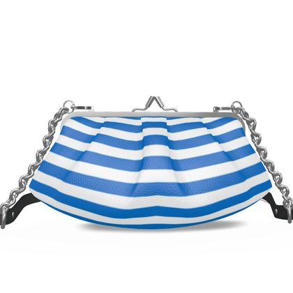 Vacation by the sea - Pleated Frame Bag - white and blue striped, marine gift