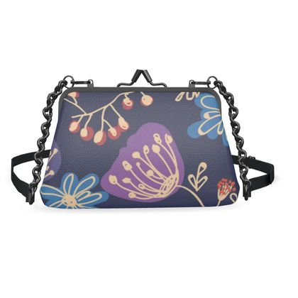 Night flowers - Flat Frame Bag - floral, blue, plants, navy, natural, hand drawing gift