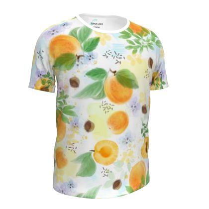 Little sun - Girls Simple T-Shirt - fruit design, apricots, sunny, orchard, yellow, bright, natural food, garden, hand-drawn floral, summer gift - design by Tiana Lofd