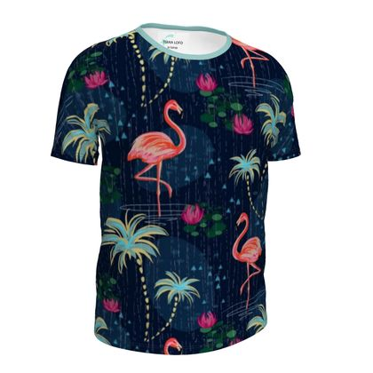 Pink flamingo -Girls Simple T-Shirt - tropical rain, palms, dark blue, navy, exotic, Bohemian, whimsical, resort, beach, bright, jungle, travel - design by Tiana Lofd