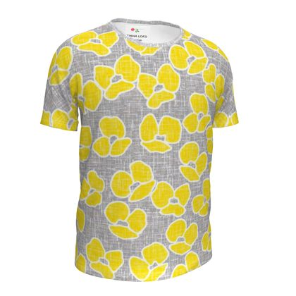 Sun poppies - Girls Simple T-Shirt - Large flowers, yellow poppies, trendy, bright gift, summer, blooming, floral, gray flax - design by Tiana Lofd