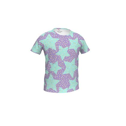 Girls Simple T-Shirt - Luck star - Turquoise stars, purple background - designed by Tiana Lofd
