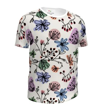 Wild flowers - Girls Simple T-Shirt - floral, large scale, hand drawing, graphical, artistic, botanical, blossom, blooming plants, summer gift - design by Tiana Lofd