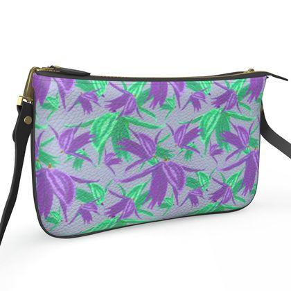 Pochette Double Zip Bag, Mauve, Green, Flower  Alpina  Matsuyama