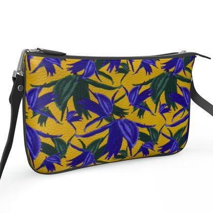 Pochette Double Zip Bag, Blue, Mustard, Flower  Alpina  Warrior