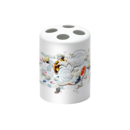 Toothbrush Holder - 'Clear Water Koi' Artwork Two
