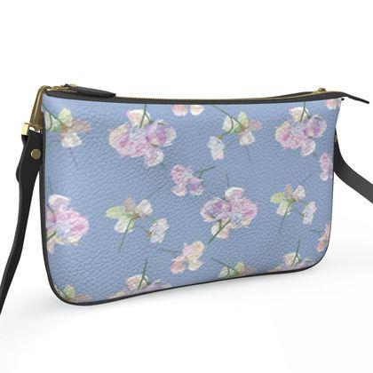 Pochette Double Zip Bag, Blue, Mauve,  Flower  My Sweet Pea, Blue Bliss