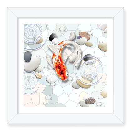 Framed Art Print C 'Clear Water Koi' theme
