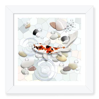 Framed Art Print B 'Clear Water Koi' theme
