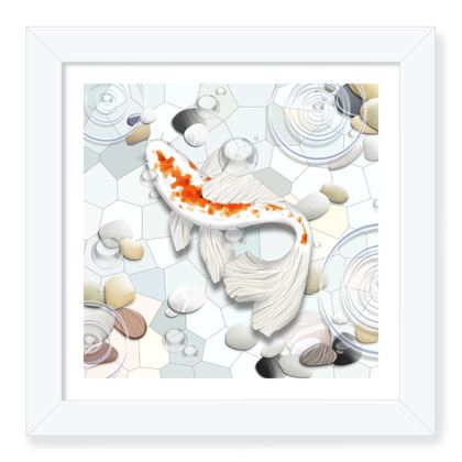 Framed Art Print A 'Clear Water Koi' Theme