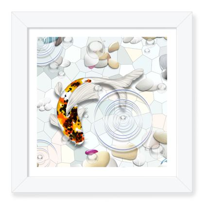Framed Art Print D 'Clear Water Koi' theme
