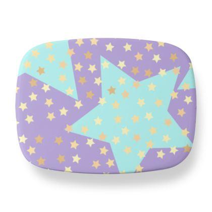 Luck Star - Lunch Box - starry sky, lovely, soft, geometric, Turquoise, purple, lilac, gentle baby pattern nursery, kids stuff - designed by Tiana Lofd
