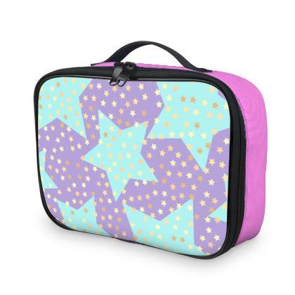 Luck Star - Lunch Bags - starry sky, lovely, soft, geometric, Turquoise, purple, lilac, gentle baby pattern nursery, kids stuff - designed by Tiana Lofd