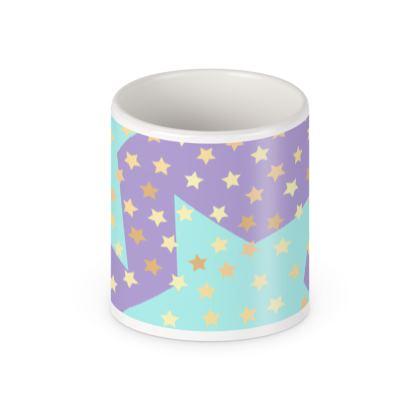 Luck Star - Pen Pot - starry sky, lovely, soft, geometric, Turquoise, purple, lilac, gentle baby pattern nursery, kids stuff - designed by Tiana Lofd
