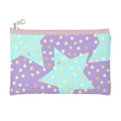 Luck Star -  Pencil Case - starry sky, lovely, soft, geometric, Turquoise, purple, lilac, gentle baby pattern nursery, kids stuff - designed by Tiana Lofd