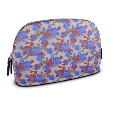 Premium Nappa Make Up Bag, Red, Blue  Flower  Field Poppies  Almost Patriotic.