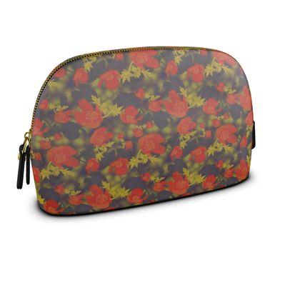 Premium Nappa Make Up Bag Orange, Grey, Flower  Field Poppies  Sunny Poppy