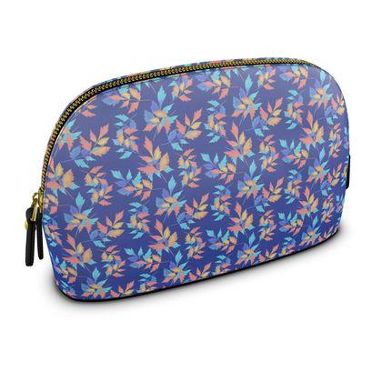 Premium Nappa Make Up Bag, Blue, Orange, Flower  Slipstream  Almost Winter