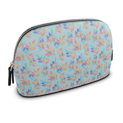 Premium Nappa Make Up Bag Blue, Orange, Flower  Slipstream  Morning Swift