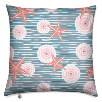 Coast of Starfish - Cushions - blue and coral, vintage seashore, retro seashell, sea coast, seaboard, seaside vacation, resort beach, soft, faded, nautical gift - design by Tiana Lofd