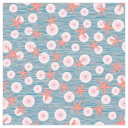 Coast of Starfish - Fabric Printing - blue and coral, vintage seashore, retro seashell, sea coast, seaboard, seaside vacation, resort beach, soft, faded, nautical gift - design by Tiana Lofd