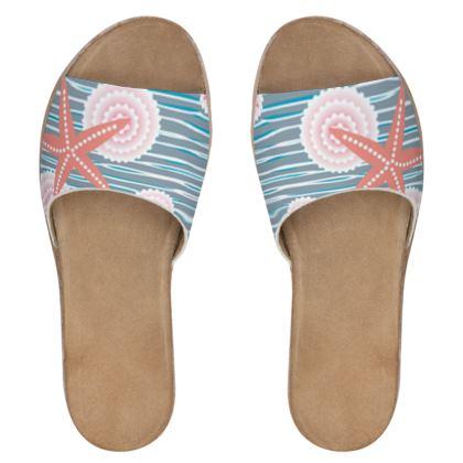 Coast of Starfish - Womens Leather Sliders - blue and coral, vintage seashore, retro seashell, sea coast, seaboard, seaside vacation, resort beach, soft, faded, nautical gift - design by Tiana Lofd
