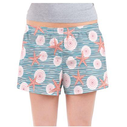 Coast of Starfish - Ladies Pyjama Shorts - blue and coral, vintage seashore, retro seashell, sea coast, seaboard, seaside vacation, resort beach, soft, faded, nautical gift - design by Tiana Lofd