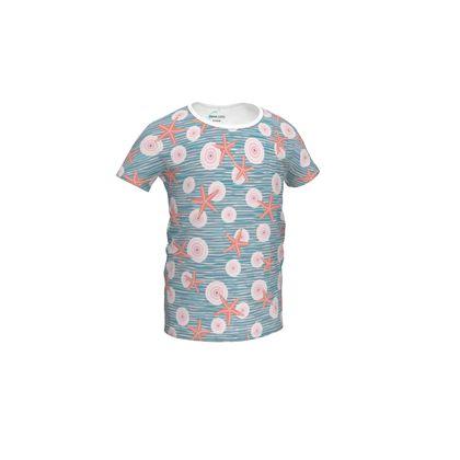 Coast of Starfish - Girls Simple T-Shirt - blue and coral, vintage seashore, retro seashell, sea coast, seaboard, seaside vacation, resort beach, soft, faded, nautical gift - design by Tiana Lofd