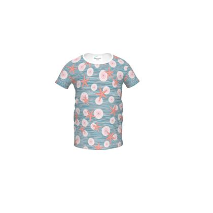 Coast of Starfish - Girls Premium T-Shirt - blue and coral, vintage seashore, retro seashell, sea coast, seaboard, seaside vacation, resort beach, soft, faded, nautical gift - design by Tiana Lofd