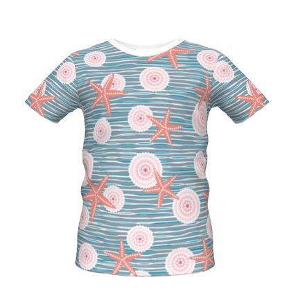 Coast of Starfish - Boys Premium T-Shirt - blue and coral, vintage seashore, retro seashell, sea coast, seaboard, seaside vacation, resort beach, soft, faded, nautical gift - design by Tiana Lofd