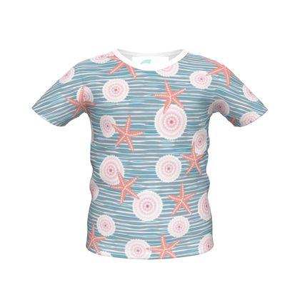 Coast of Starfish - Boys Simple T-Shirt - blue and coral, vintage seashore, retro seashell, sea coast, seaboard, seaside vacation, resort beach, soft, faded, nautical gift - design by Tiana Lofd
