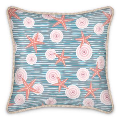 Coast of Starfish - Silk Cushions - blue and coral, vintage seashore, retro seashell, sea coast, seaboard, seaside vacation, resort beach, soft, faded, nautical gift - design by Tiana Lofd