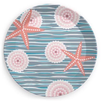 Coast of Starfish - Party Plates - blue and coral, vintage seashore, retro seashell, sea coast, seaboard, seaside vacation, resort beach, soft, faded, nautical gift - design by Tiana Lofd