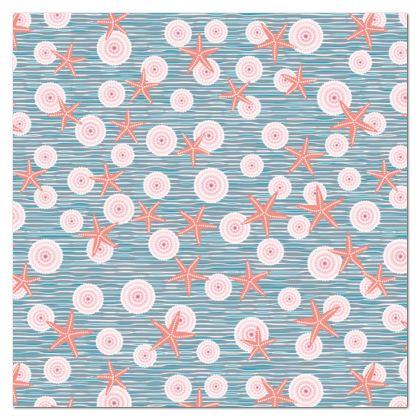 Coast of Starfish - Tablecloth - blue and coral, vintage seashore, retro seashell, sea coast, seaboard, seaside vacation, resort beach, soft, faded, nautical gift - design by Tiana Lofd