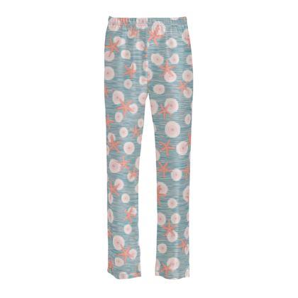 Coast of Starfish - Ladies Silk Pyjama Bottoms - blue and coral, vintage seashore, retro seashell, sea coast, seaboard, seaside vacation, resort beach, soft, faded, nautical gift - design by Tiana Lofd