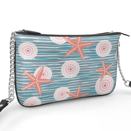 Coast of Starfish - Pochette Double Zip Bag - blue and coral, vintage seashore, retro seashell, sea coast, seaboard, seaside vacation, resort beach, soft, faded, nautical gift - design by Tiana Lofd