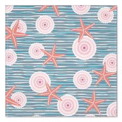 Coast of Starfish - Pocket Square - blue and coral, vintage seashore, retro seashell, sea coast, seaboard, seaside vacation, resort beach, soft, faded, nautical gift - design by Tiana Lofd