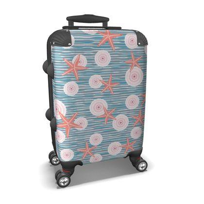 Coast of Starfish - Suitcase - blue and coral, vintage seashore, retro seashell, sea coast, seaboard, seaside vacation, resort beach, soft, faded, nautical gift - design by Tiana Lofd