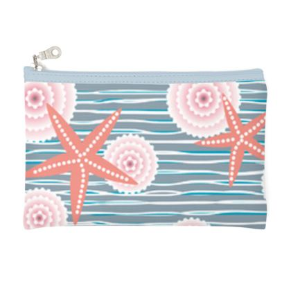 Coast of Starfish - Pencil Case - blue and coral, vintage seashore, retro seashell, sea coast, seaboard, seaside vacation, resort beach, soft, faded, nautical gift - design by Tiana Lofd