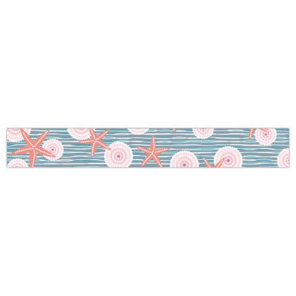 Coast of Starfish - Printed Ribbon - blue and coral, vintage seashore, retro seashell, sea coast, seaboard, seaside vacation, resort beach, soft, faded, nautical gift - design by Tiana Lofd