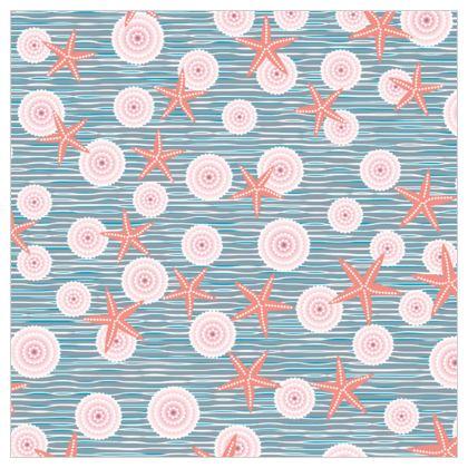 Coast of Starfish - Leather Printing - blue and coral, vintage seashore, retro seashell, sea coast, seaboard, seaside vacation, resort beach, soft, faded, nautical gift - design by Tiana Lofd