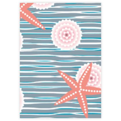 Coast of Starfish - Leather Sample Test Print - blue and coral, vintage seashore, retro seashell, sea coast, seaboard, seaside vacation, resort beach, soft, faded, nautical gift - design by Tiana Lofd