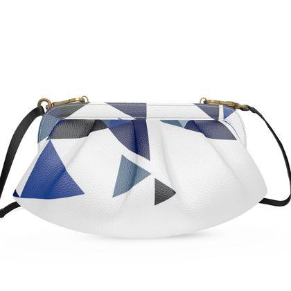 Large Pleated Soft Frame Bag - Geometric Triangles Blu