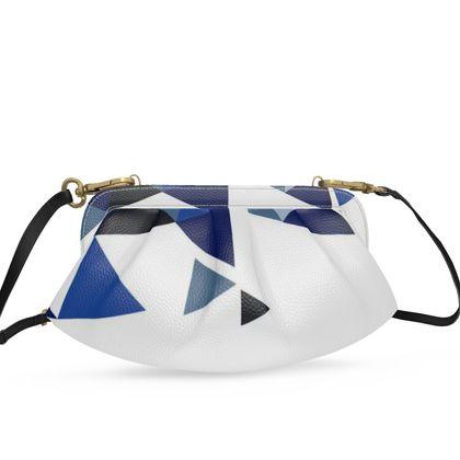 Small Pleated Soft Frame Bag - Geometric Triangles Blu