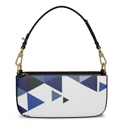 Medium Zip Box Bag - Geometric Triangles Blu