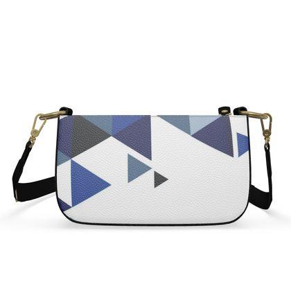 Small Zip Box Bag - Geometric Triangles Blu