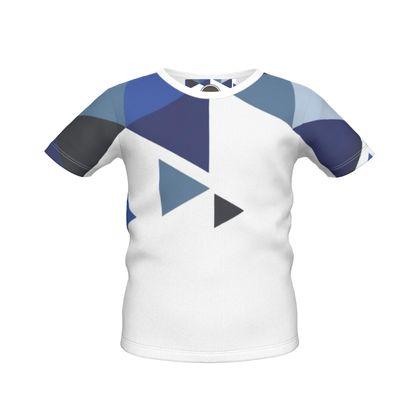 Boys Simple T-Shirt - Geometric Triangles Blu