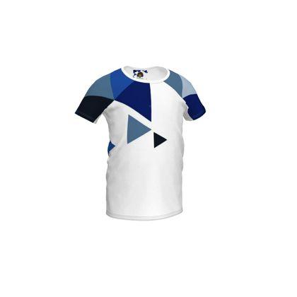 Girls Simple T-Shirt - Geometric Triangles Blu